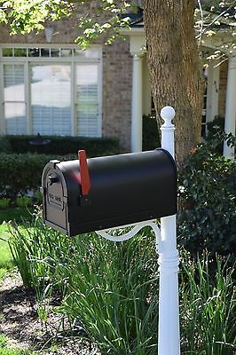 Cast Aluminum Mailbox and post - White with Black mailbox