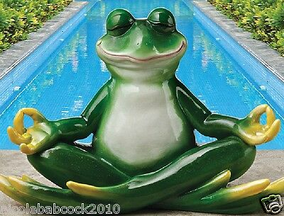 Amphibian Frog Posing In Meditation Happy  Reptile Home Or Garden Statue