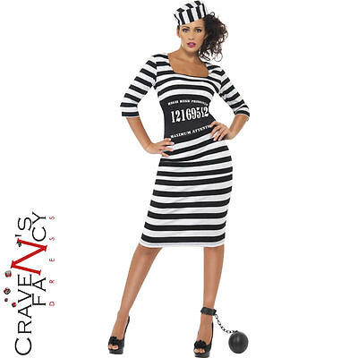 Classy Sexy Convict Prisoner Costume Hen Party Fancy Dress Outfit UK 8-18 New