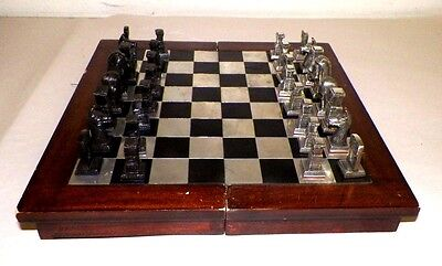 Chess Set Pewter Pieces Maya Inca Aztec Design Good Folding Board Case
