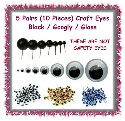 20 Pairs (40 pcs) Black wired doll teddy bear eyes -9 sizes- polymer clay crafts