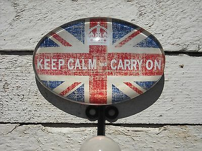 "Pewter w/ Glass Inlay Hook – ""Keep Calm and Carry On"" - Ceramic Tip"