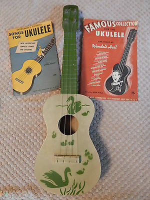 Vintage Krupp Chicago USA Wooden Swan Ukulele Green Song Books Rossini Hall RARE
