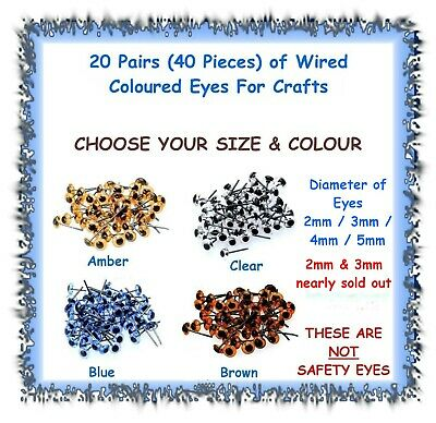 20 Pairs (40 pcs) coloured wired doll teddy bear eyes - polymer clay crafts doll