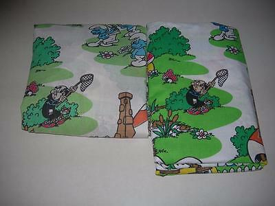 Vintage 1980's~ Smurfs Twin Fitted & Flat Sheet Set by Lawtex Lot # 2