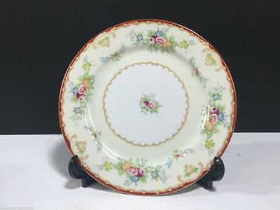 STS Kongo China Salid Plate Hand Painted Floral Rust, Tan & Gold Edge (#1323)