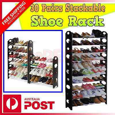 Model 30 Pairs 10 Tiers Stackable Storage Shoe Rack Holder for Shoes