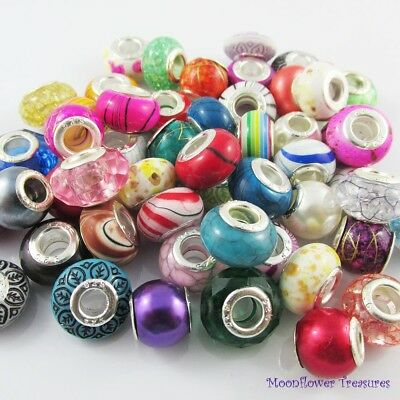 CLEARANCE SALE! Bulk x50 Acrylic European Beads fit Charm Bracelets