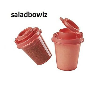 TUPPERWARE New TUPPER MINIS SALT & PEPPER SHAKERS Set 2 Midgets GUAVA fREEsHIP!