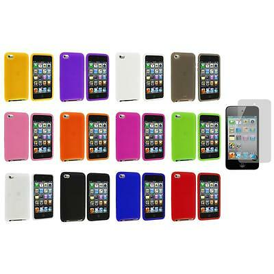 Silicone Soft Case Cover+Screen Protector for iPod Touch 4th Generation 4G 4