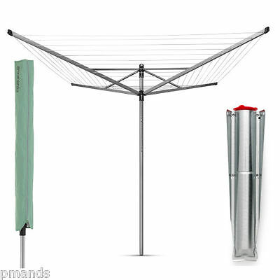 Brabantia 60m Lift-O-Matic Rotary Airer Dryer 4 Arm With Spike & Cover