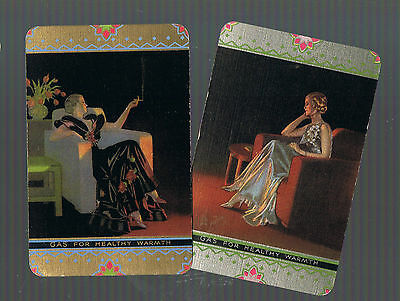 Swap Playing Cards  2 VINT  ELEGANT LADIES  SITTING BY THE  GAS  FIRE   G44