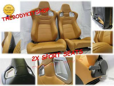 PAIR of Tan PU Leather Universal Reclining  Sport seats/ Racing Bucket Seats