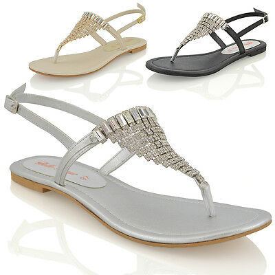 Womens Flat Diamante Toe Post Slingback Sparkly Ladies Holiday Sandals Shoes