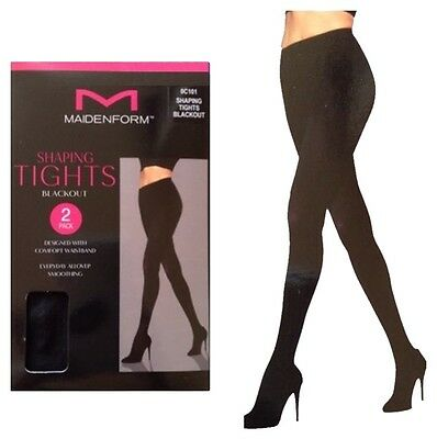 Maidenform Women's Shaping Tights 2 Pack Blackout