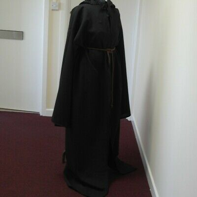 "Sale Halloween Black Monk Robe/cloak/ Pagan/jedi/wizard/knight  60"" Long"