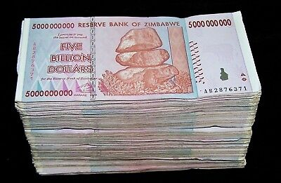 500 x Zimbabwe 5 Billion Dollar bank notes -5 bundles
