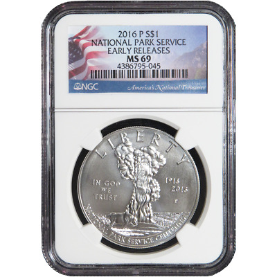 2016-P UNC $1 Silver National Park Service 100th Anniversary NGC MS69 ER
