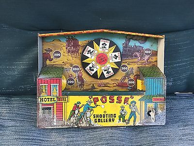 "Wyandotte Tin Lithographed Wind-Up ""Posse"" Shooting Gallery -No dart pistol"