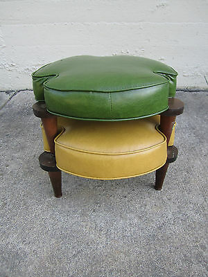 2 MCM Danish Style Stacking Stools upholstered cushions orig condition Blast Off