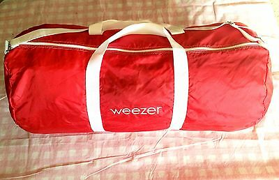 """Rare WEEZER Large Red Duffle Duffel Gym Bag Wings Logo Round Roll Shape 30"""""""