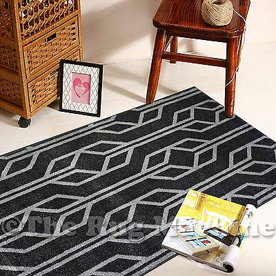 BOSTON BLACK GREY GEOMETRIC DESIGN MODERN FLOOR RUG RUNNER 80x300cm **NEW**