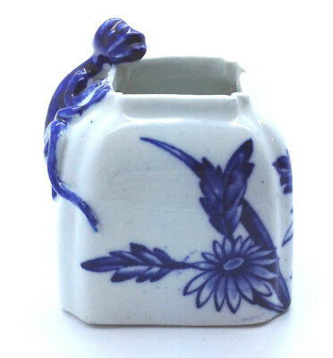 Antique Royal Worcester Brush pot Ink well 1877 Blue & white, Salamander lizard