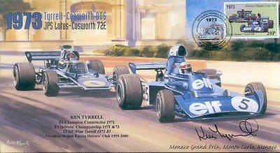 1973 TYRRELL-COSWORTH JPS LOTUS-COSWORTH MONACO F1 cover signed KEN TYRELL
