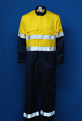PPC  'Ohmtec' Arc Flash + Flame Retardant Hi-Vis yellow /navy overall with tape