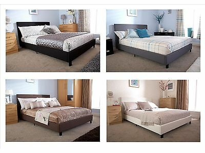 Fabric or Faux Leather Bed   Black Brown Grey White   3ft 4ft 4ft6 5ft All Sizes