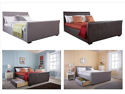Hannover Faux Leather, Fabric 4 Drawer Storage Bed - Brown, Silver - 4ft6, 5ft
