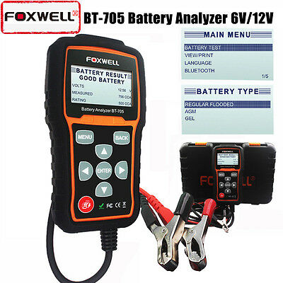 Foxwell BT705 Car Battery Tester 6/12V Analyzer AGM/Flooded CCA,BCI,CA,MCA,JIS