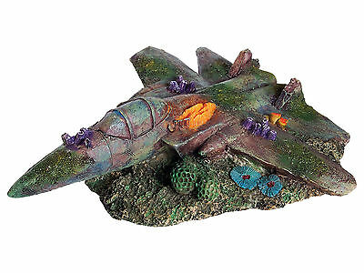 Sunken Fighter Jet Aquarium Ornament Aircraft Wreck Fish Tank Decoration