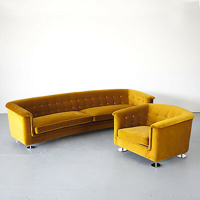 Seating Group by Hans Kaufeld, Sofa and Lounge Chair in Velvet | Sitzgruppe 70er