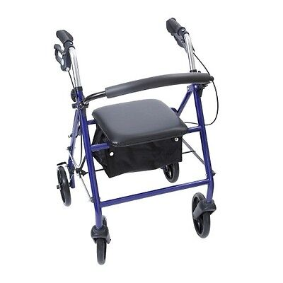 NRS Lightweight Folding Blue 4 Wheel Rollator Walker