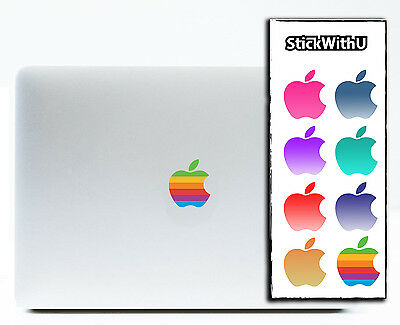 MacBook Decal Apple Logo Sticker Retro Rainbow Air Pro Retina Vinyl 8 PACK bn688