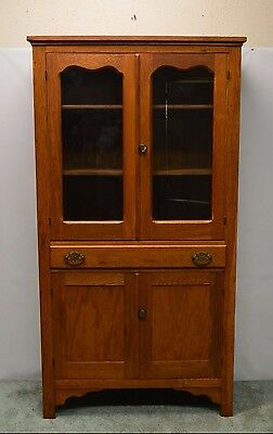 Antique Primitive Country Oak Cupboard Kitchen Cabinet Hutch