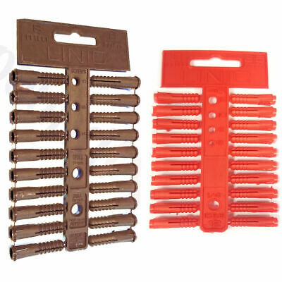 100x Wall Plug Set Raw Rawl Plugs Dowel - 3 Common Sizes Tool Box DIY  Drills UK