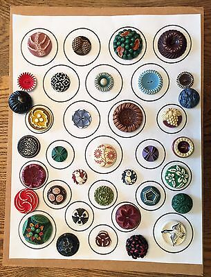 Awesome! Card Of 36 Antique  & Vintage Buffed Celluloid Buttons Some Pictorials
