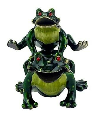 Bejewelled Two Frogs Hopping Trinket Box - Enamel w/ Crystals - Welforth