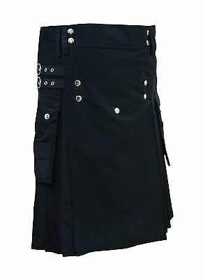 Men's Black Fashion Sport Utility Kilt Deluxe Kilt Adjustable Sizes Pocket kilt