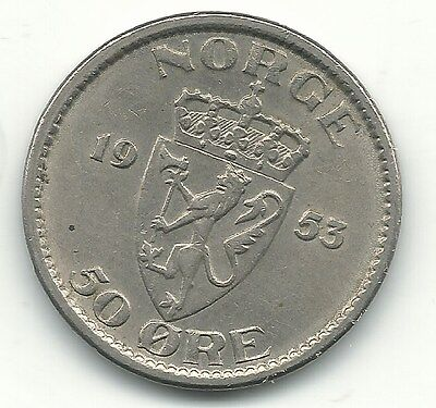 A Very Nice High Grade Au 1953 Norway 50 Ore Coin-Apr446