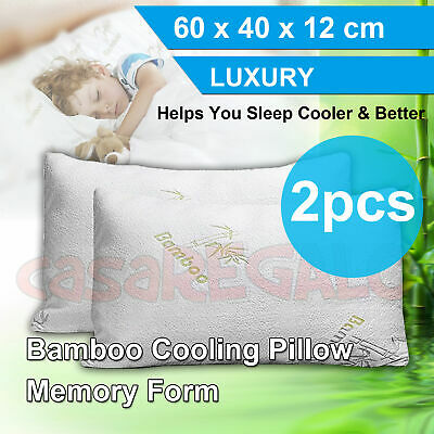 2X Luxury Bamboo Pillow Anti Bacterial Memory Foam Fabric Cover 60x40x12cm