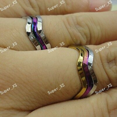 10pairs Stainless steel Fashion Unisex 3 in 1 Wave Rings Wholesale Jewelry Lots