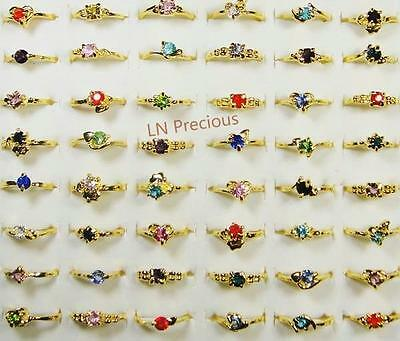 15pcs Rhinestone Gold-Plated Rings Wholesale Mix Style Women Alloy Free Shipping