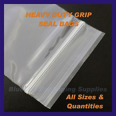 Heavy Duty Plain Grip Seal Bags 300gu Resealable Polythene Plastic Zip Lock