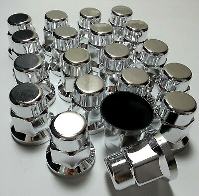 New 20x WHEEL NUT COVER CHROME PLASTIC CAPS BOLT 32mm TRUCK TRAILER LORRY BUS