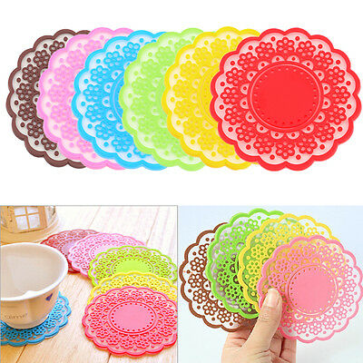 Silicone Lace Coasters Mat Cushion Drinks Tea Cup Pads Bowl Tableware Placemat