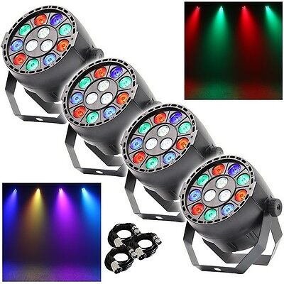 4x Equinox MicroPar RGBW LED DJ Disco Parcan Lighting Effect inc FREE DMX Cables