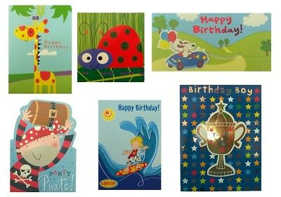 Pack of 6 Assorted Quality Kid's Boy's Children's Birthday Cards Job Lot Bundle
